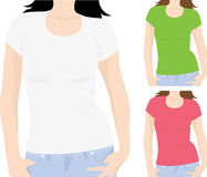 Women's t-shirt template Stock Photos