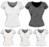 Women's t-shirts with maple leaves. Stock Images