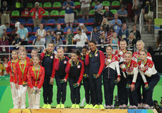 Women's team all-around gymnastics winners at Rio 2016 Olympic Games team China (L), team USA  and team Russia Stock Photos