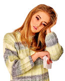 Women's tears. The reasons may be different. Colds Royalty Free Stock Photo