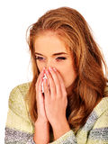 Women's tears. The reasons may be different. Colds. Portrait girl with running nose a handkerchief. The reasons may be different. Colds, allergies or depression Stock Images