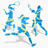 Women's Tennis Sport Silhouettes Stock Images