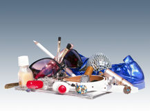 Women's Things. A collection of things from a girl's handbag Royalty Free Stock Image