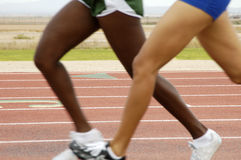 Women's track. Women's 1500 meter run during a college track meet Stock Photos