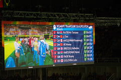 Women's trampoline qualification at Rio2016. Screen showing final standings in qualification of Rio2016 women trampoline gymnastics. Screen 1. Picture taken Aug Stock Photo