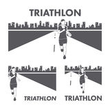 Women's Triathlon logo and icon. Silhouettes of figures triathle. Te. Vector sport label and badge Stock Image