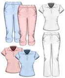 Women's trouser jeans and polo-shirt Stock Photography