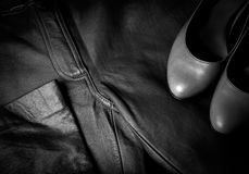 Women's trousers and shoes Stock Images