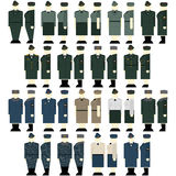 Women's uniforms Interior Ministry troops. Uniforms and insignia Interior Ministry troops. The illustration on a white background Stock Photos