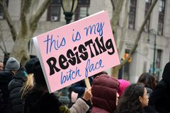Women`s Unity March New York City stock photography