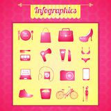 Women's vector infographic set. In colorful bright cartoon style Stock Photos