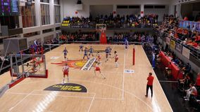 Women`s Volleyball Championship. Match of Super League with Spectators Indoor