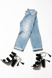 Women`s  walking jeans Royalty Free Stock Images