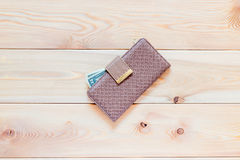 Women's wallet with money close up Royalty Free Stock Photography