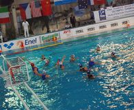 Women's water polo. Final Italy-Russia Stock Photos