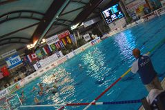 Women's water polo, Italy-Hungary Royalty Free Stock Photo