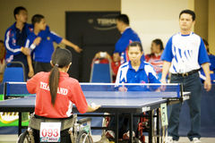 Women's Wheelchair Table Tennis Action Royalty Free Stock Photography