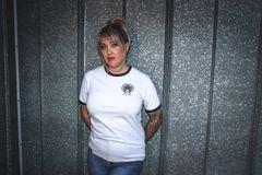 Women's White and Black Ringer Tee Royalty Free Stock Images