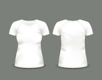 Women's white raglan t-shirt in front and back views. Vector template. Fully editable handmade mesh Stock Photo