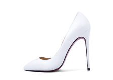 Women's white shoes with high heels for wedding Royalty Free Stock Photos
