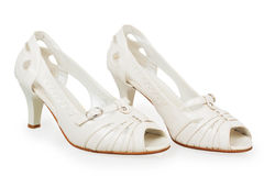 Women's white shoes Stock Photography