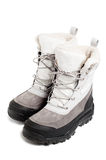 Women's winter boots. Isolated on white Royalty Free Stock Photography