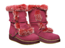 Women's winter boots, isolated Royalty Free Stock Photography