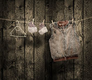 Women's winter clothes on a clothesline Royalty Free Stock Photo