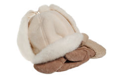 Women's winter fur hat and mittens Royalty Free Stock Image