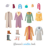 Women s Winter Look Vector Concept in Flat Design. Women s winter look. Set of casual clothing and shoes for cold season. Pants, jacket, sweater, shirt flat Royalty Free Stock Images