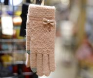 Women`s wool gloves, adobe rgb Royalty Free Stock Photography