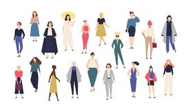 Women`s world. Crowd of girls dressed in trendy casual and formal clothes. Collection of female cartoon characters royalty free illustration