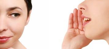 Women said, woman listening to gossip stock image
