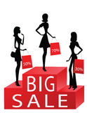 Women with sale percents on their bags. Black silhouttes Stock Image