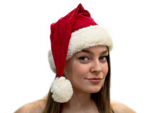 Women in a Santa Claus hat Royalty Free Stock Photo
