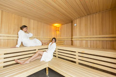 Women in the sauna Stock Photos