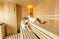 Women in the sauna Stock Image