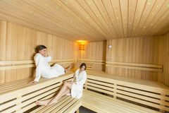 Women in the sauna Stock Images
