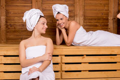 Women in sauna. Royalty Free Stock Image