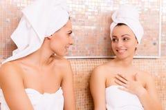 Women in sauna. stock images