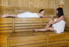 Women in sauna Royalty Free Stock Image