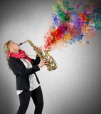 Women saxophonist Royalty Free Stock Photos