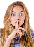 Women says ssshhh to maintain silence Royalty Free Stock Image