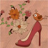 Women& x27; scarpe di s su un bello fondo floreale con l'uccello illustrazione di stock