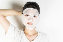Women with scary beauty face masking. Asian woman with scary beauty face masking Royalty Free Stock Image