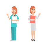 Women scientist and doctor showing thumbs up Royalty Free Stock Photo