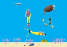 Women Scuba Divers on a Coral Reef. Two Women Scuba Divers on a Coral Reef with a Turtle Moorish Idol Fish and a Shark Stock Photos