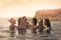 Women in the sea Royalty Free Stock Images