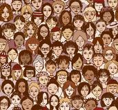 Women - seamless pattern. Hand drawn seamless pattern of a crowd of different women from diverse ethnic backgrounds Vector Illustration
