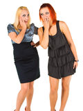 Women Secrets. Two happy young girlfriends share secrets Stock Images